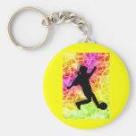 Soccer Player & Fluorescent Mosaic Keychains