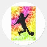 Soccer Player & Fluorescent Mosaic Round Sticker