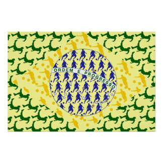 Soccer player Futebol team flag of brazil art gift Poster