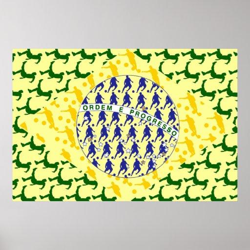 Soccer player Futebol team flag of brazil art gift Poster