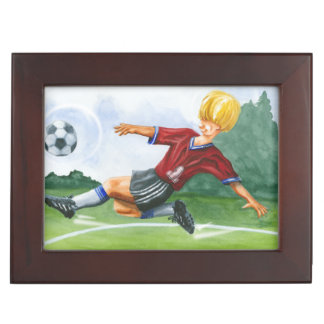 Soccer Player Kicking a Ball by Jay Throckmorton Memory Boxes