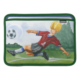 Soccer Player Kicking a Ball by Jay Throckmorton Sleeve For MacBook Air