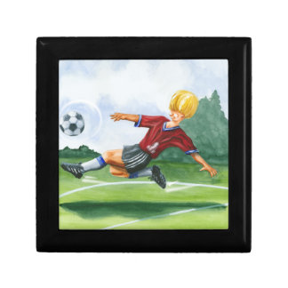 Soccer Player Kicking a Ball by Jay Throckmorton Small Square Gift Box