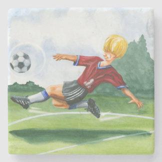 Soccer Player Kicking a Ball by Jay Throckmorton Stone Coaster