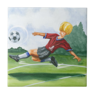 Soccer Player Kicking a Ball by Jay Throckmorton Tile