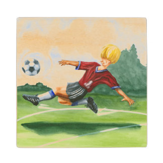 Soccer Player Kicking a Ball by Jay Throckmorton Wood Coaster