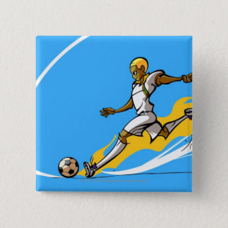Soccer player kicking a soccer ball 15 cm square badge