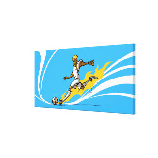 Soccer player kicking a soccer ball canvas print