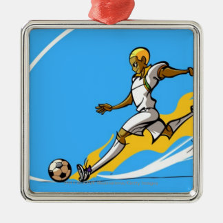 Soccer player kicking a soccer ball christmas ornament