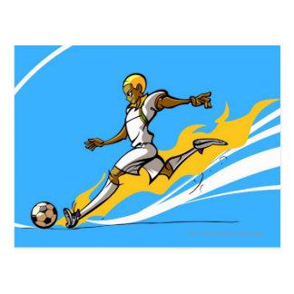 Soccer player kicking a soccer ball postcard