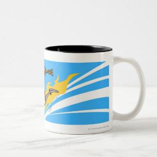 Soccer player kicking a soccer ball Two-Tone coffee mug