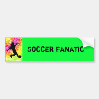 Soccer Player on Fluorescent Mosaic Bumper Stickers