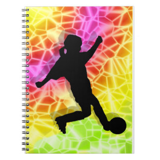 Soccer Player on Fluorescent Mosaic Notebook