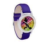 Soccer Player on Fluorescent Mosaic Wrist Watches