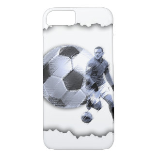 Soccer player over cracked shell Iphone case. iPhone 7 Case