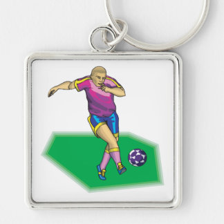 Soccer Player Silver-Colored Square Key Ring
