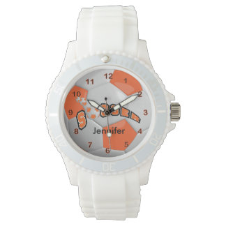 Soccer Player Sporty Orange Soccer Ball Watch