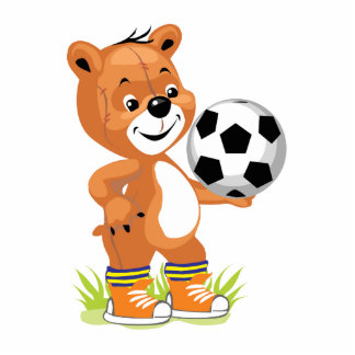 soccer player teddy bear cartoon graphic standing photo sculpture