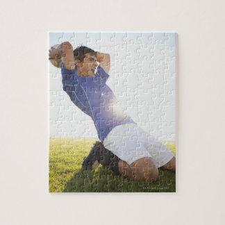 Soccer player throwing ball jigsaw puzzle