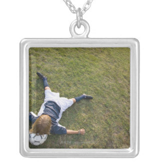 Soccer player with head on football silver plated necklace