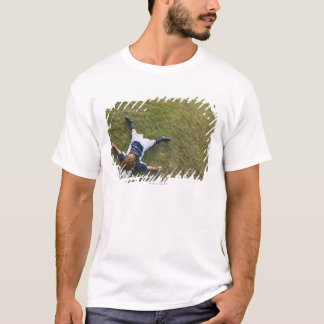 Soccer player with head on football T-Shirt