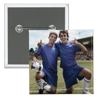 Soccer players cheering 15 cm square badge