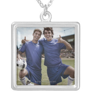 Soccer players cheering silver plated necklace