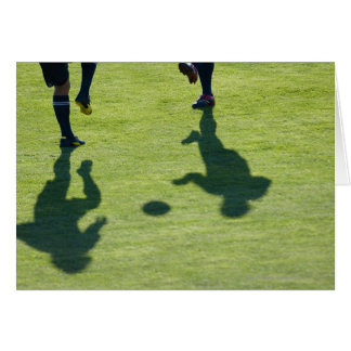 Soccer players doing drills. greeting card
