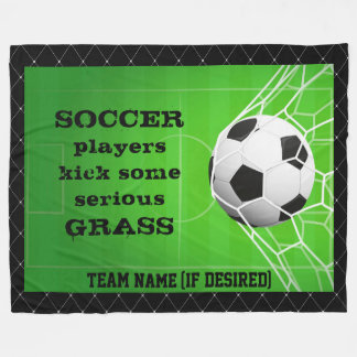 """""""Soccer Players Kick Grass"""" Fleece Blanket"""