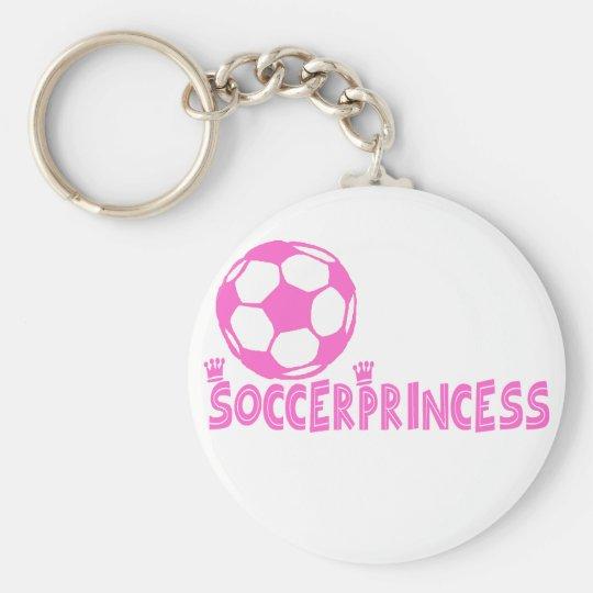Soccer Princess 2 side Basic Round Button Key Ring
