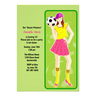 Soccer Princess Birthday Party Invitation