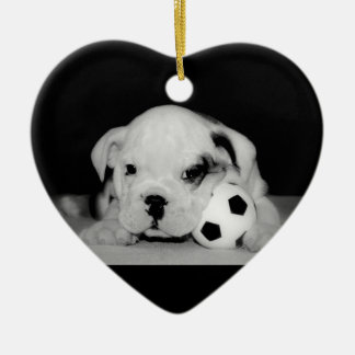 """Soccer Puppy"" English Bulldog Christmas Ornament"