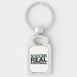 Soccer=Real Football Silver-Colored Rectangle Key Ring