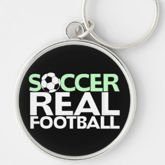 Soccer=Real Football Silver-Colored Round Key Ring