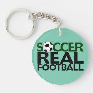 Soccer=Real Football Single-Sided Round Acrylic Key Ring