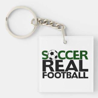 Soccer=Real Football Single-Sided Square Acrylic Key Ring