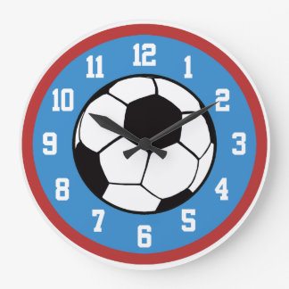 Soccer Red and Blue Large Clock