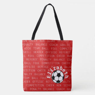 Soccer Red  Over All Print Bag