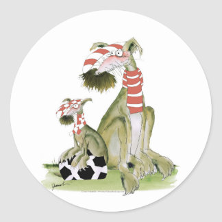 soccer reds, like father like son classic round sticker