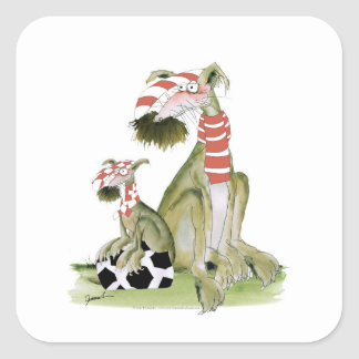 soccer reds, like father like son square sticker