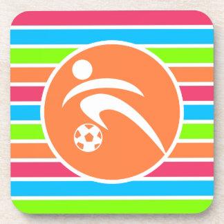 Soccer Retro Neon Rainbow Drink Coaster