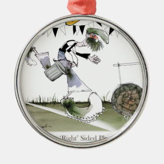 soccer right winger black + white kit christmas ornament