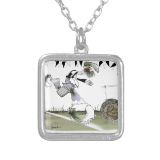 soccer right winger black + white kit silver plated necklace
