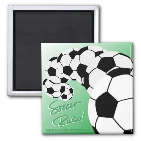 SOCCER RULES Sq Magnet/green Magnet