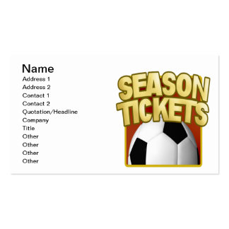 Soccer Season Tickets Pack Of Standard Business Cards