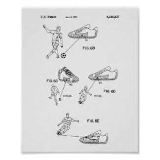 Soccer Shoes 1993 Patent Art - White Paper Poster