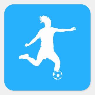 Soccer Silhouette Sticker Blue