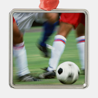 Soccer Silver-Colored Square Decoration