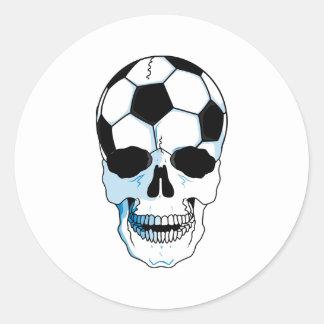 Soccer Skull Round Stickers