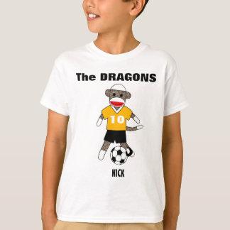 Soccer Sock Monkey T-Shirt (gold) - Customized